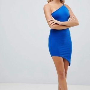 Missguided Blue Asymmetrical One Shoulder Bodycon